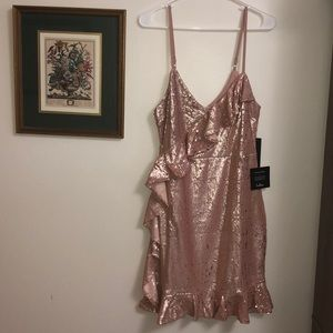 Rose gold sequin ruffled body con mini dress